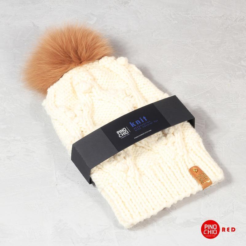 вязаная шапка с меховым помпоном ручной работы купить в украине 314610