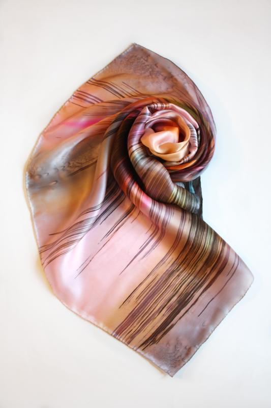 Абстрактный шелковый платок, батик платок, шелковые платки