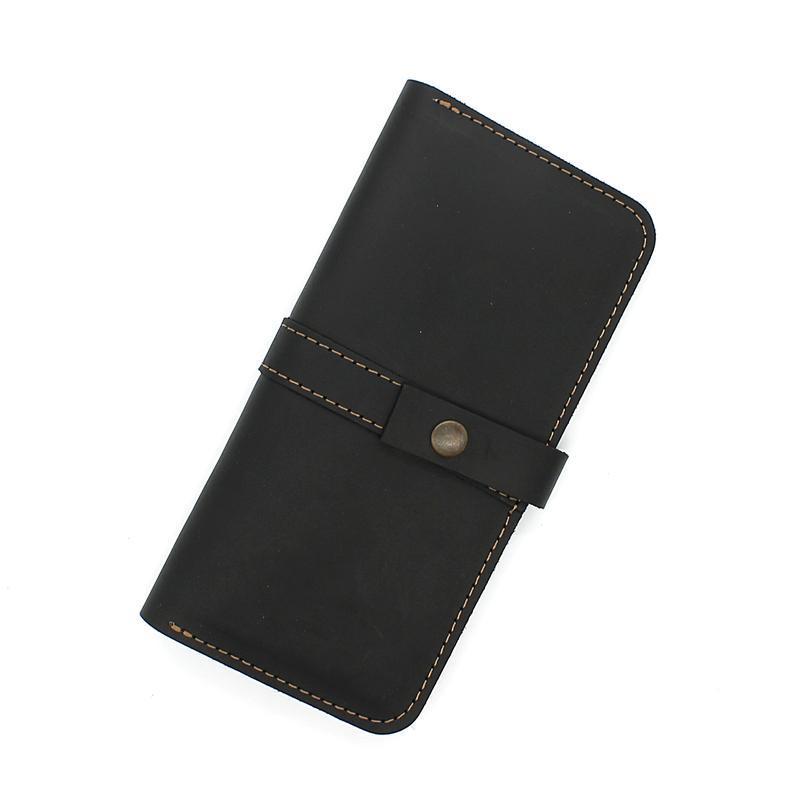 96d7c64c346f Кошелек-портмоне из натуральной кожи черный crown ручной работы ...