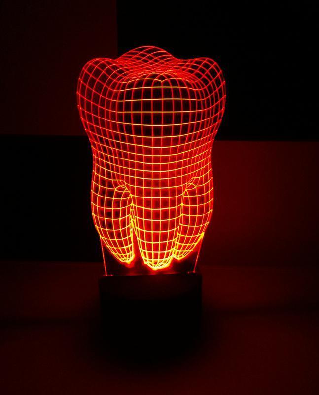 Зуб, ночник акриловый, светильник, лампа, подарок дантисту, стоматологу, декор
