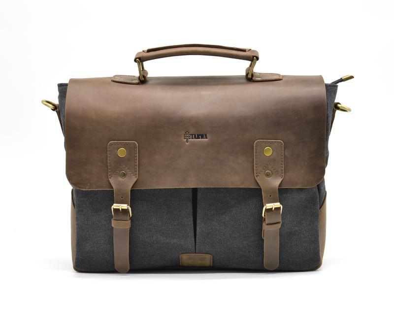 Мужская сумка-портфель кожа+парусина RC-3960-G от украинского бренда TARWA