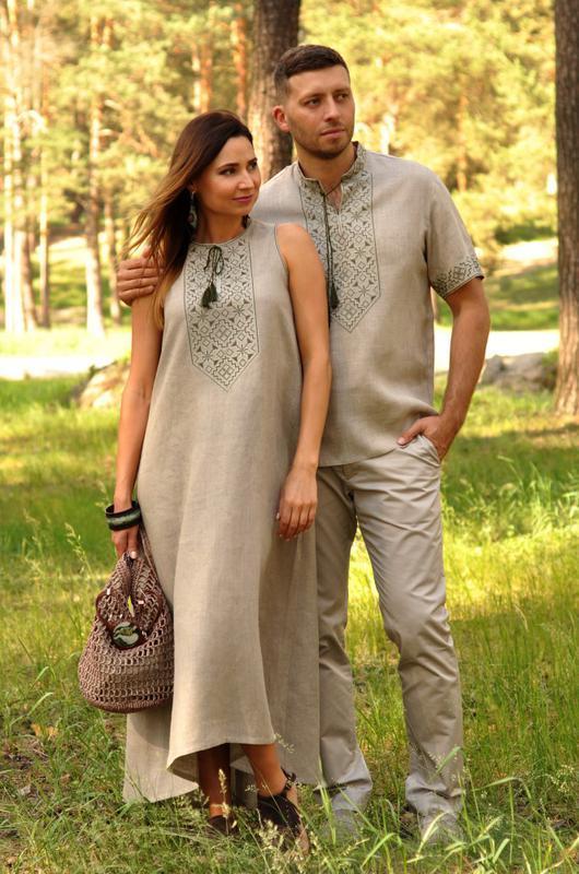 Комплект з натурального льону - чоловіча сорочка з коротким рукавом і  жіноча довга сукня c926ccbaf2373