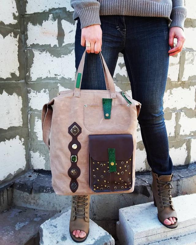 7f9a800a2ca0 Натуральная кожа. Большая сумка с декором из кожи ящерицы ручной ...