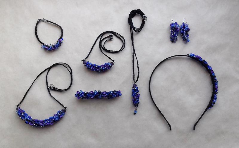 Фиолетово синее колье, цветочное колье, колье с цветами, вечернее украшение, подарок