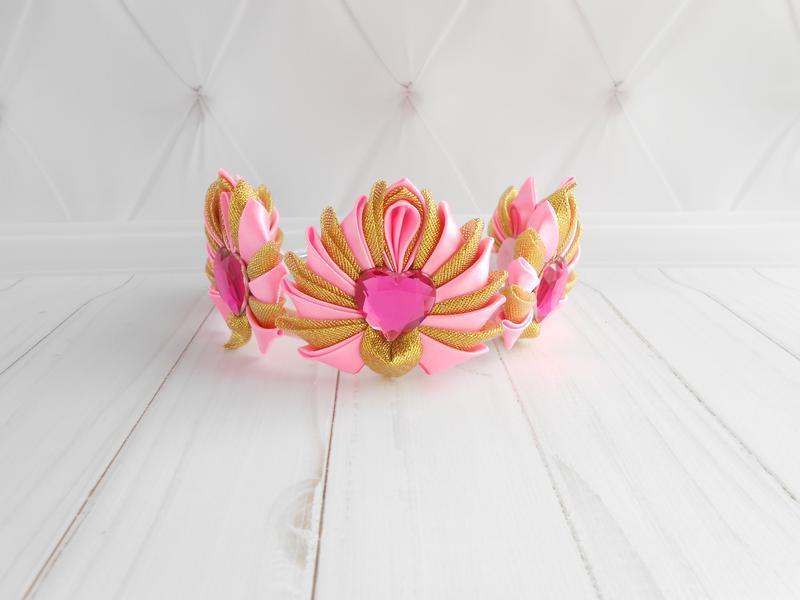Корона на новогодний утренник Корона для девочки розовая с золотом