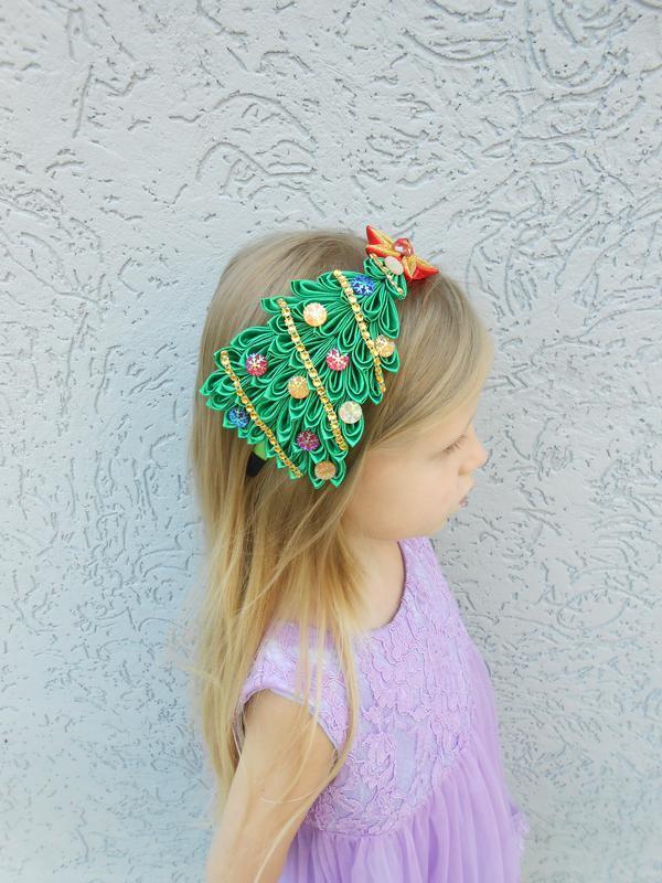 Обруч новогодний  Обруч для девочки на голову Ёлочки Ободок новогодний Обруч канзаши с атласных лен