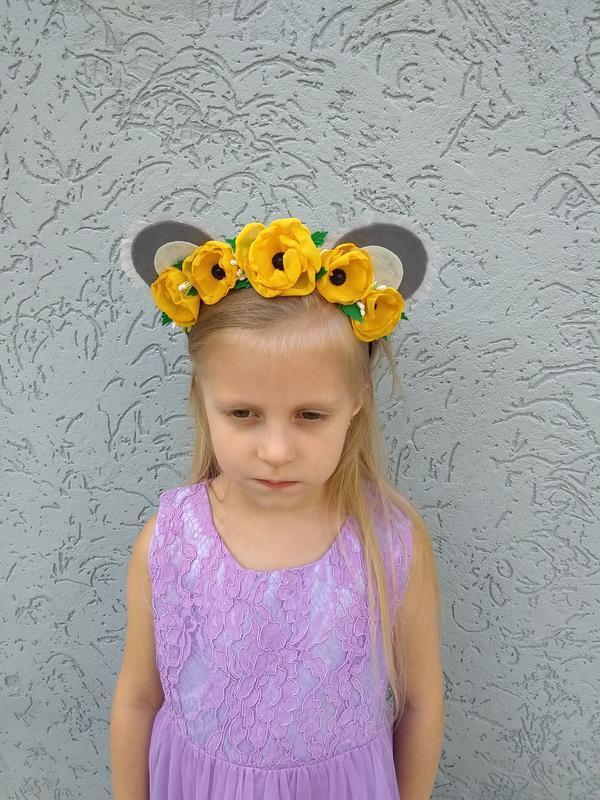 Ободок с ушками для костюма мышки Обруч с цветами для девочки на утренник для волос