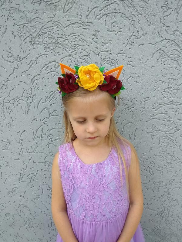 Ободок с ушками лисички с цветами на утренник Обруч на голову для девочки на Новый год