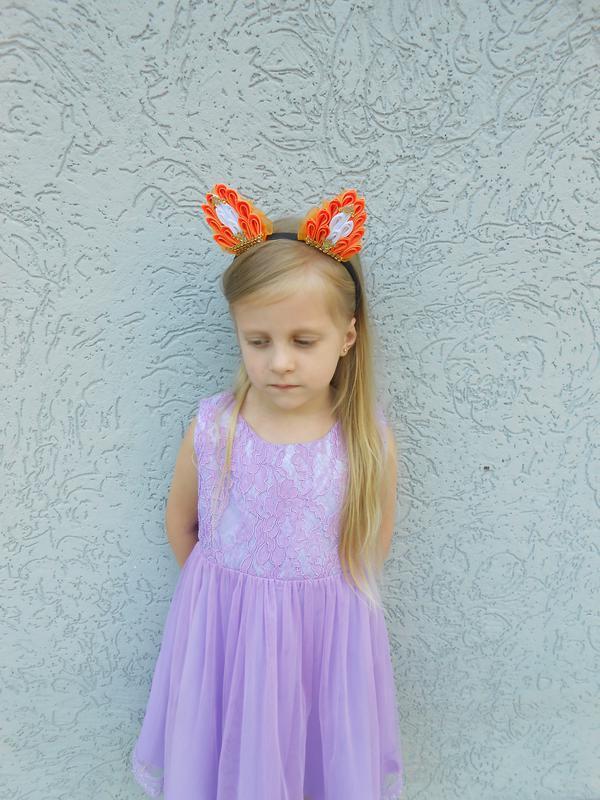 Ободок с ушками для костюма лисички на утренник Обруч для девочки канзаши на голову