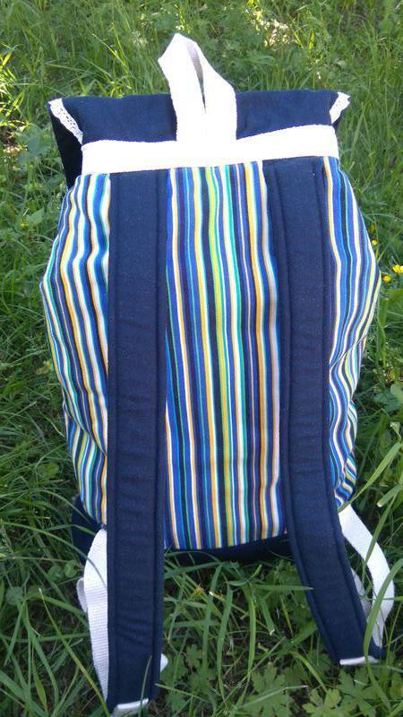Стильный хлопковый рюкзак в сине-желтую полоску