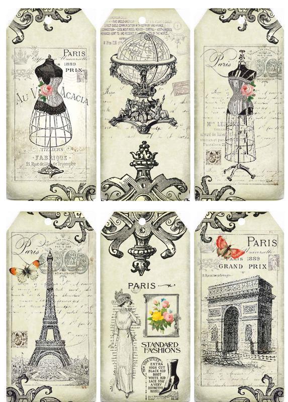 Декупажная карта Париж Мода Бабочка Цветы Винтаж 28V 55 г/м2, А4, 210Х290 мм