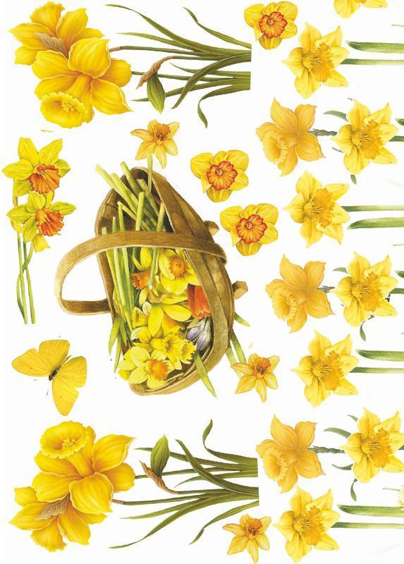 Декупажная карта Бабочка Пасха Цветы Желтые Винтаж 34V 55 г/м2, А4, 210Х290 мм