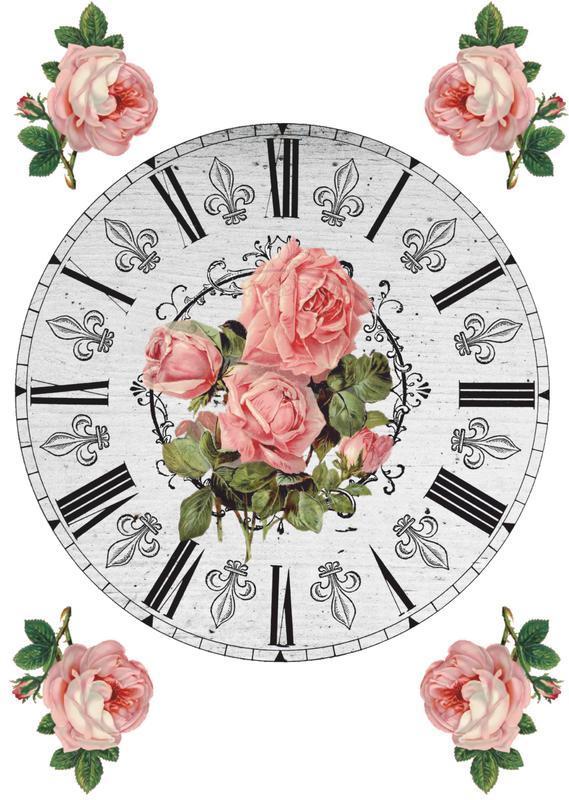 Декупажная карта Розы Цветы Часы Винтаж 35V 55 г/м2, А4, 210Х290 мм