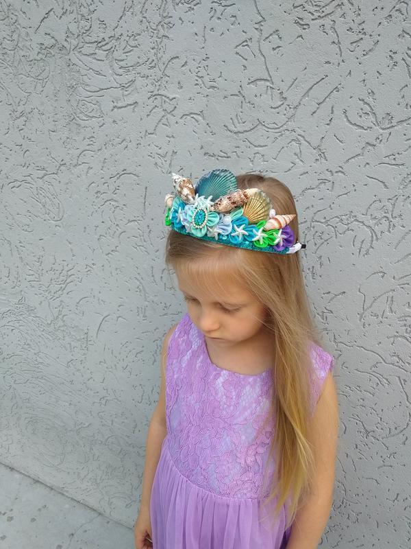 Корона подарок на день рождение для девочки Ободок для волос Обруч на голову Русалка