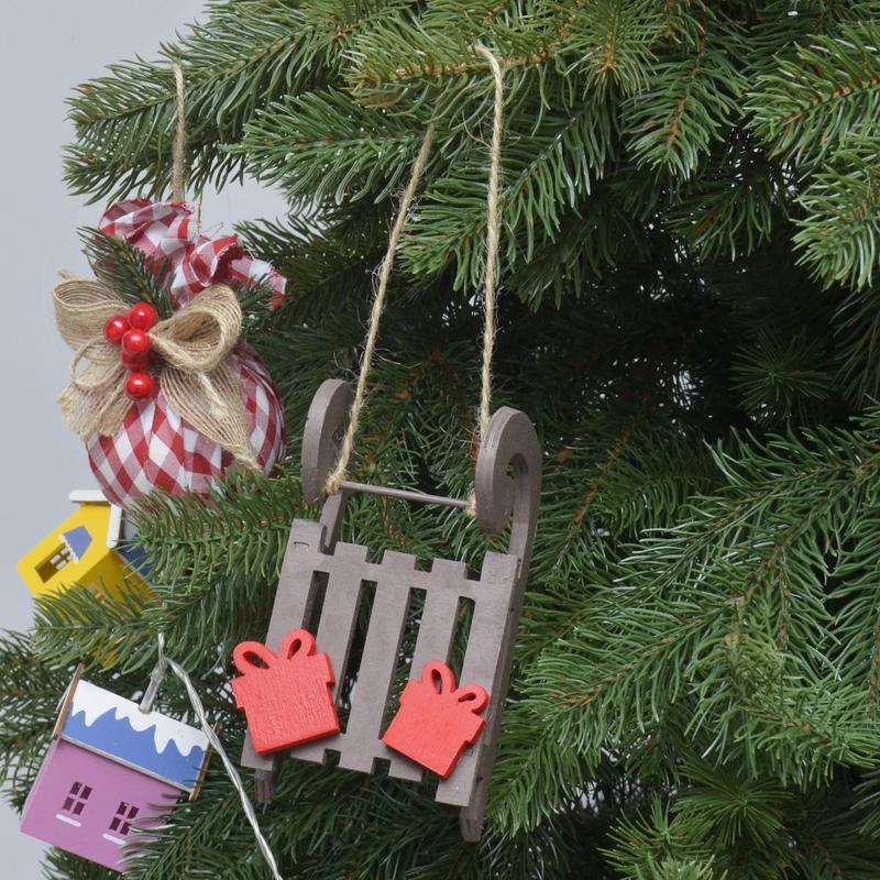 Новогодние игрушки Декор из дерева фанеры на елку санки санчата