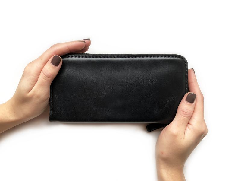 Женский/мужской кожаный кошелек Zip Wallet (черный)