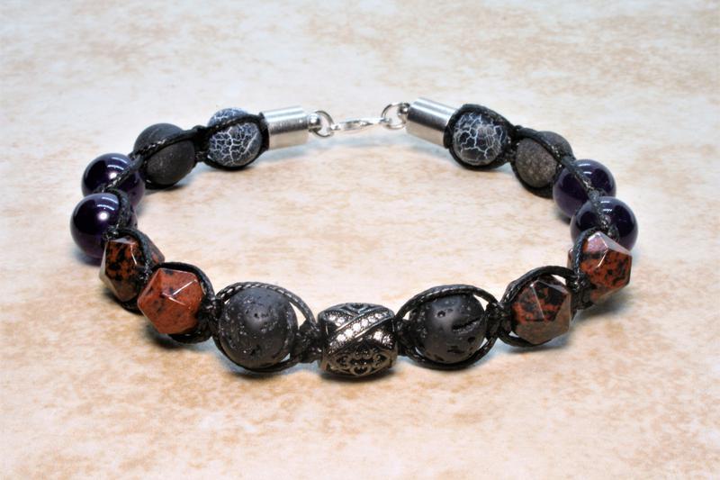 Браслет шамбала из натуральных камней агат, аметист, обсидиан, лава