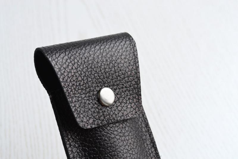 Кожаный пенал для трех ручек, Черный