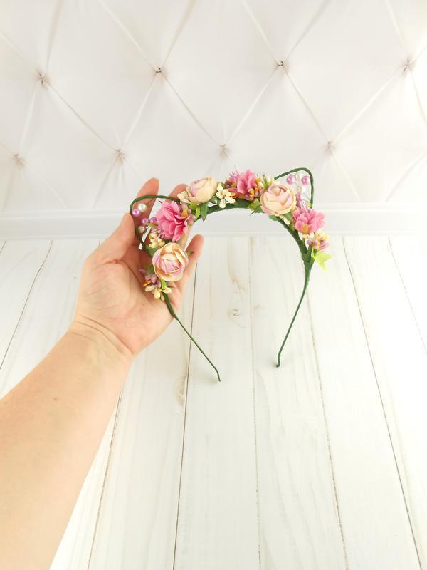 Ободок кошачьи ушки Обруч для волос с цветами Подарок для девочки Цветочный венок на голову