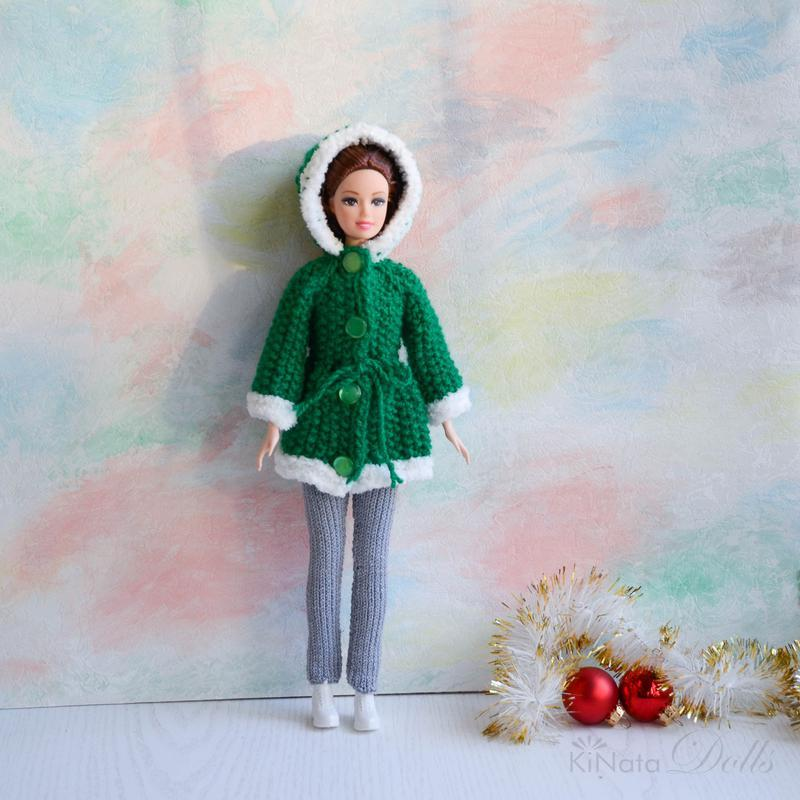Зимнее пальто для Барби с мехом