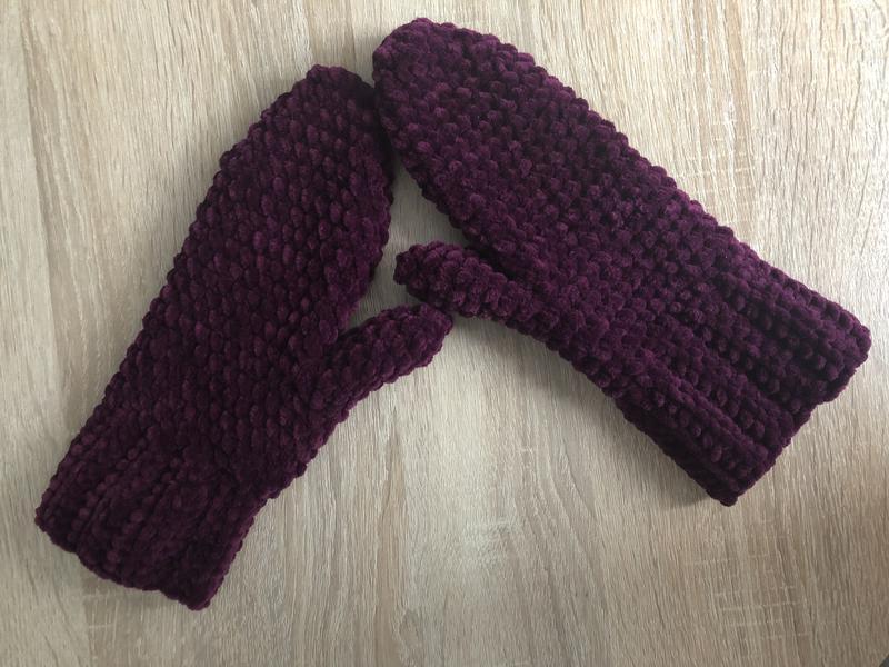Варежки рукавицы вязаные сливовые фиолетовые велюр новые теплые зима