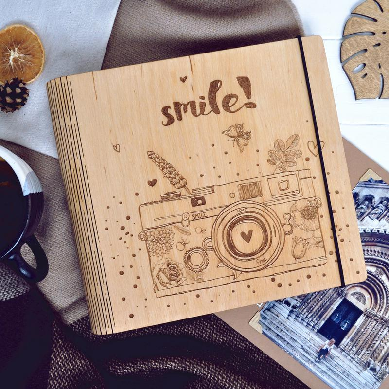 """Фотоальбом из дерева / Альбом для фотографий """"Smile"""""""
