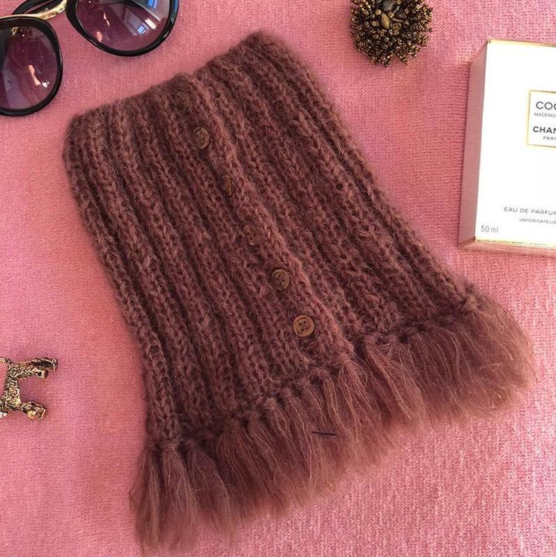 "Зимний шарф мини-снуд ""Токио"", женский зимний шарф, теплый женский шарф, подарок женщине"
