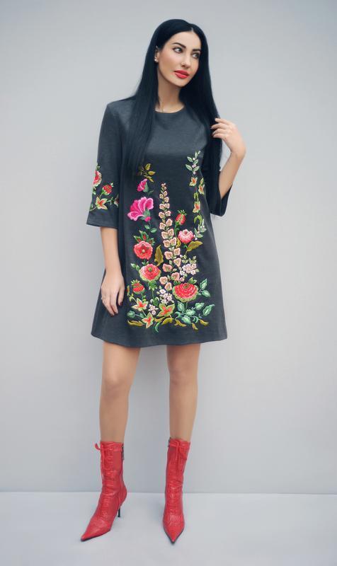 """Платье с вышивкой """"Волшебный сад"""" трикотажное платье, вышитое платье"""