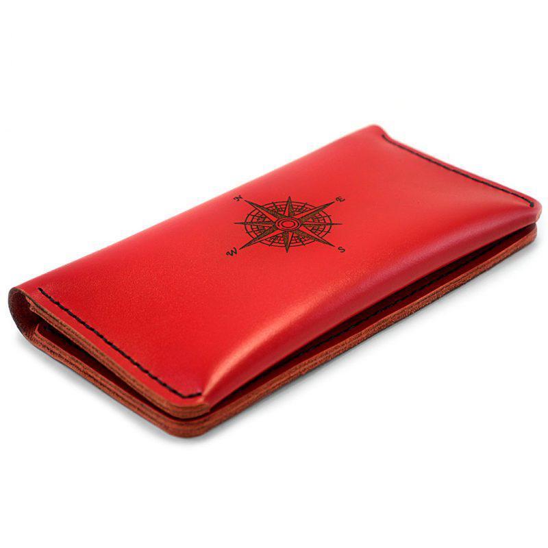 Красный женский кошелёк - портмоне T-Case с гравировкой Compass + Подарок на выбор