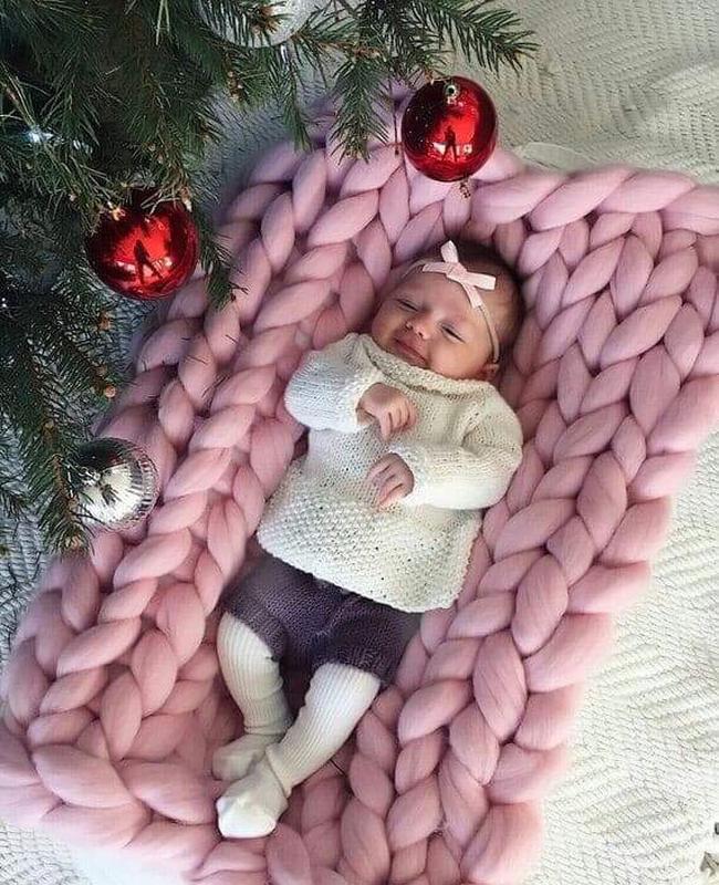 Детский пледик крупной вязки из шерсти меринос