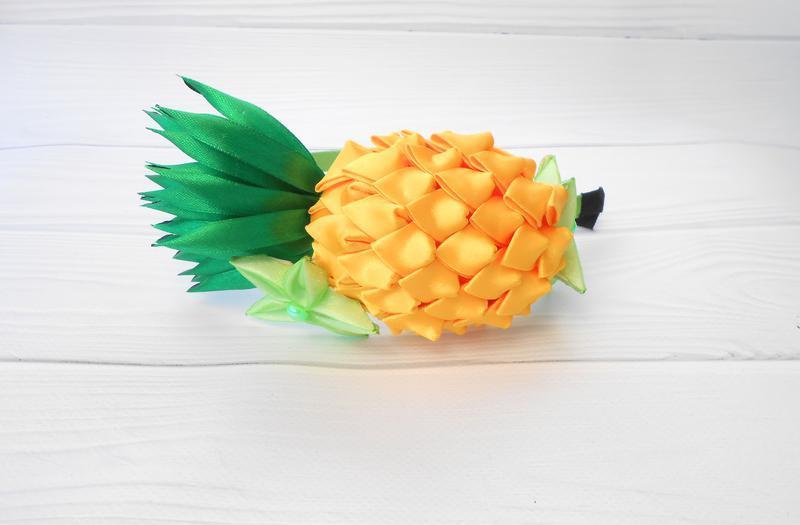 Оригинальный ободок с ананасом Обруч канзаши девочке Украшение на голову с фруктами Костюм ананас