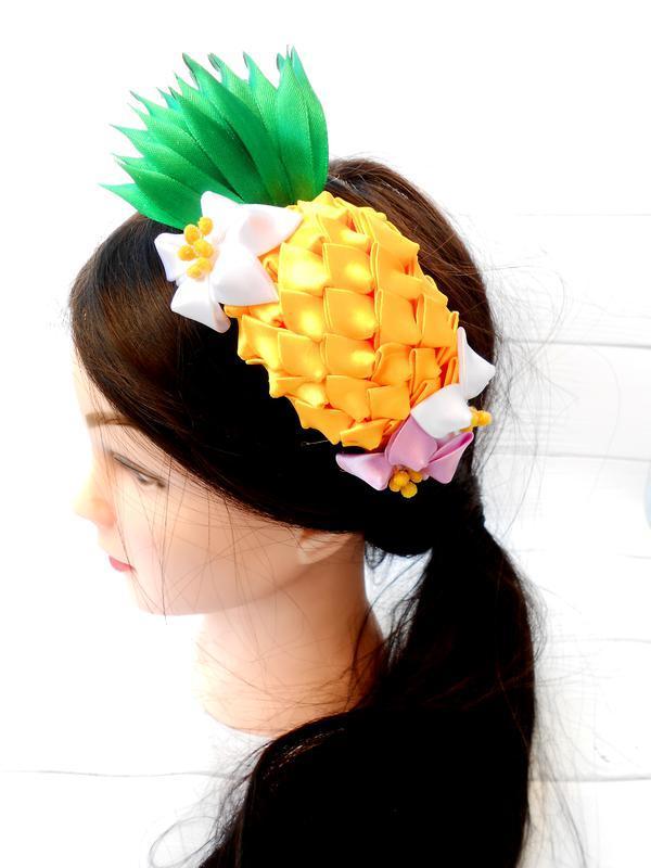 Ободок с ананасом Обруч канзаши девочке в подарок Украшение на голову с фруктами Костюм ананас