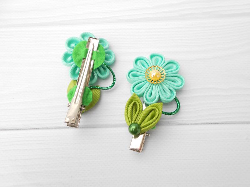 Заколки канзаши с цветами для малышки Мятное Украшение для волос на каждый день Подарок девочке