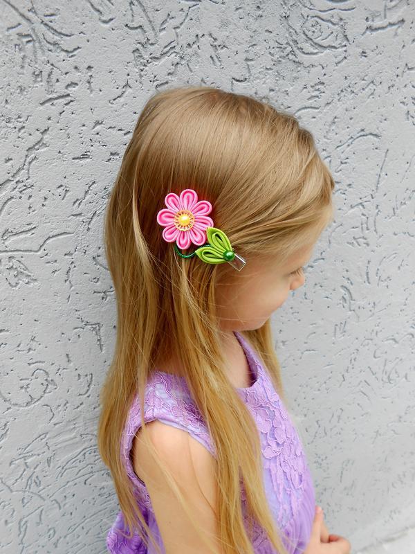 Заколки канзаши для малышки Украшения с цветами девочке в детский сад Подарок на день рождение