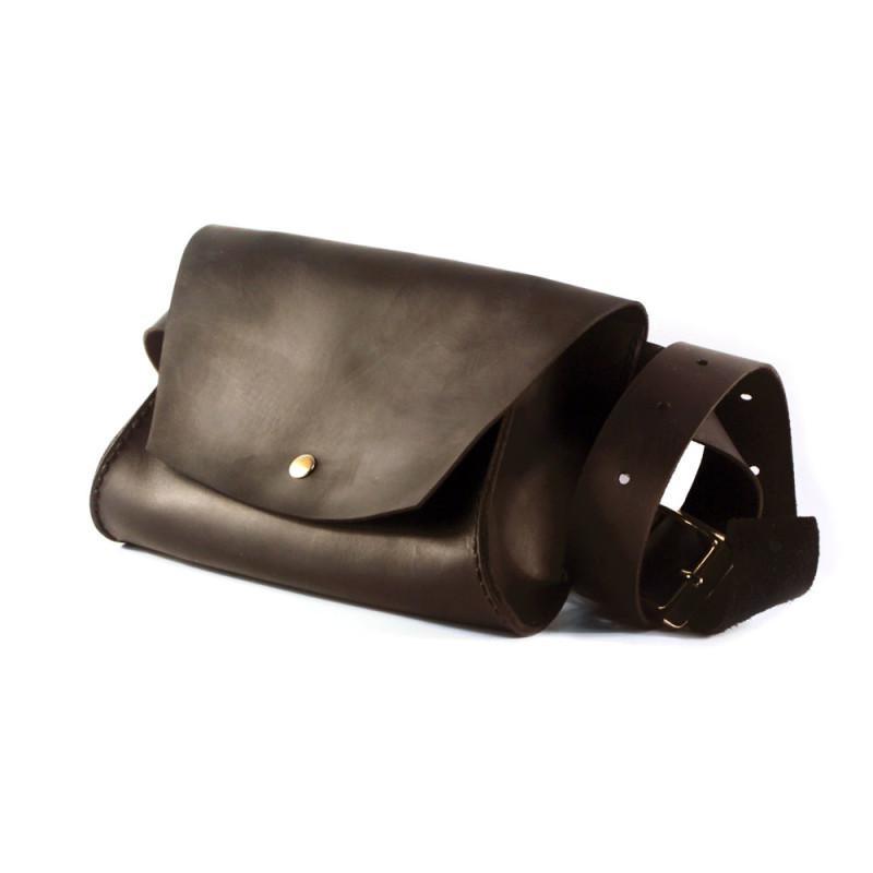 Женская кожаная сумка на пояс — темно-коричневая
