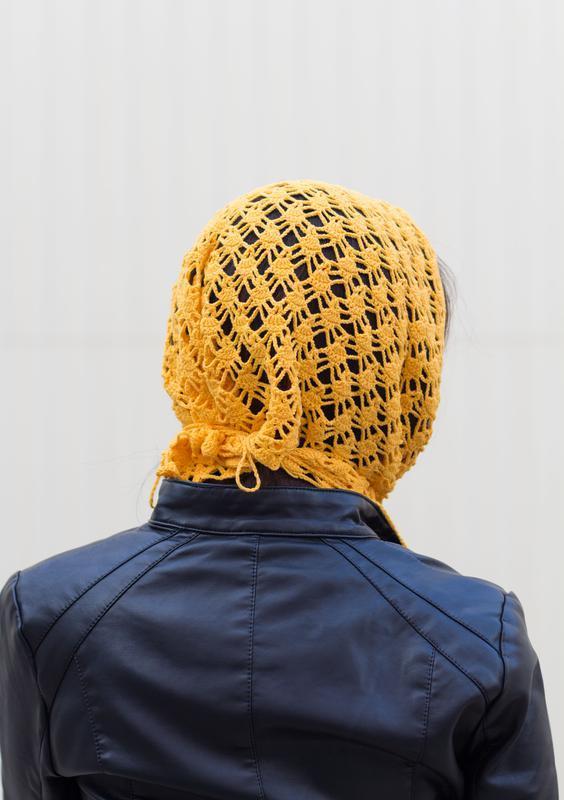 Ажурный шарф бактус Вязаная косынка жёлтого цвета 100% хлопок
