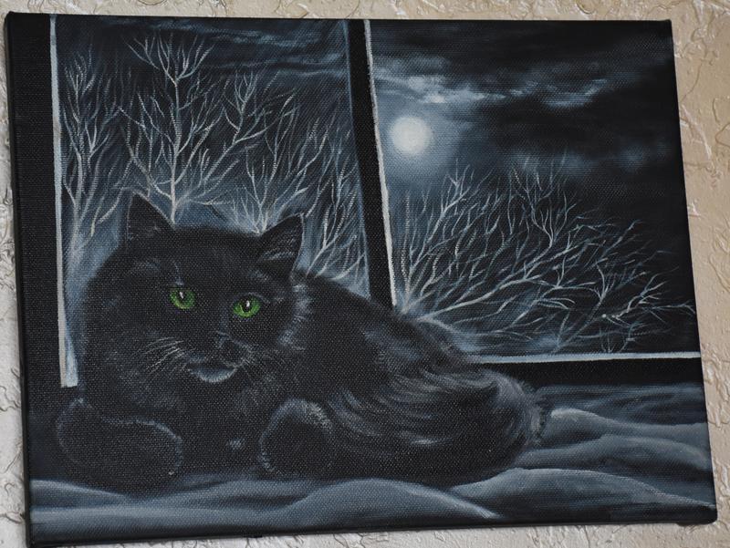 """Картина маслом """"Черный кот""""30х40см"""