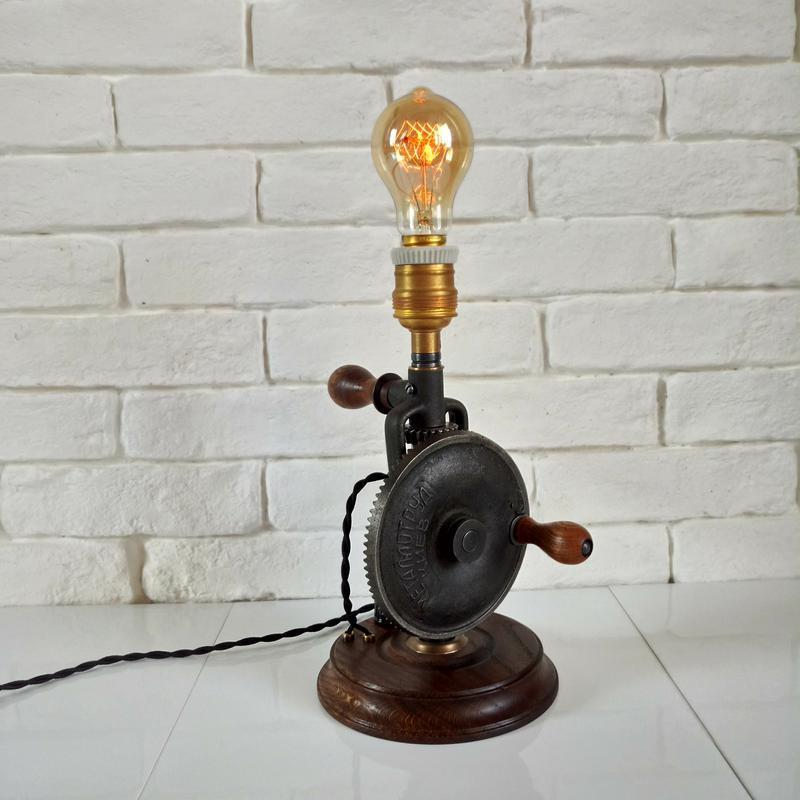 Настольный светильник Drill, в стиле лофт, стимпанк.