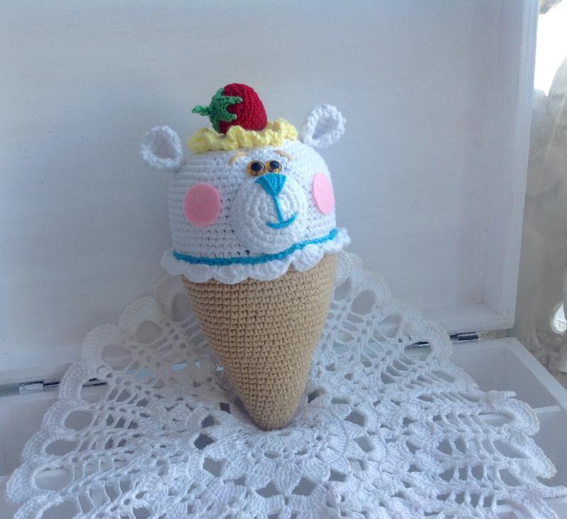 Мишка-мороженка крючком,18 см