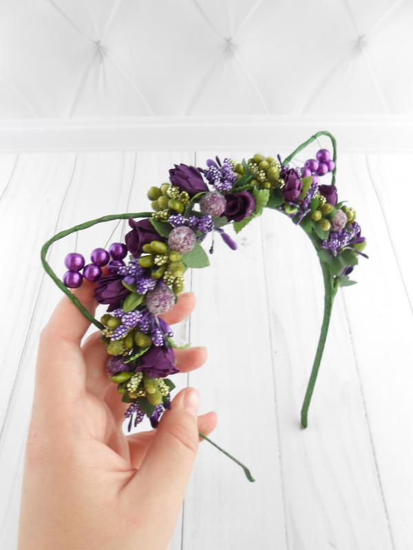 Цветочные кошачьи ушки на ободке Обруч для волос Фиолетовое украшение девушке Венок на голову