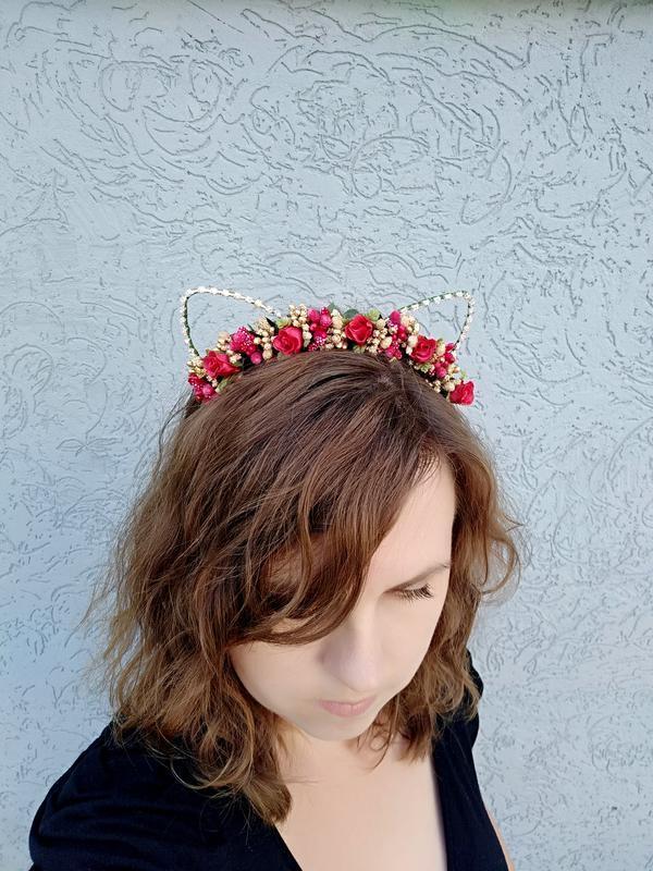 Новогодний ободок с кошачьими ушками Цветочный обруч для волос Украшение девушке на день рождение