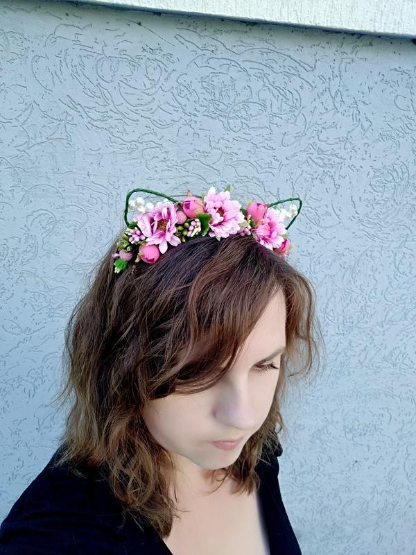 Розовые цветочные ушки кошки на обруче Ободок на голову Украшение для волос девушке на праздник