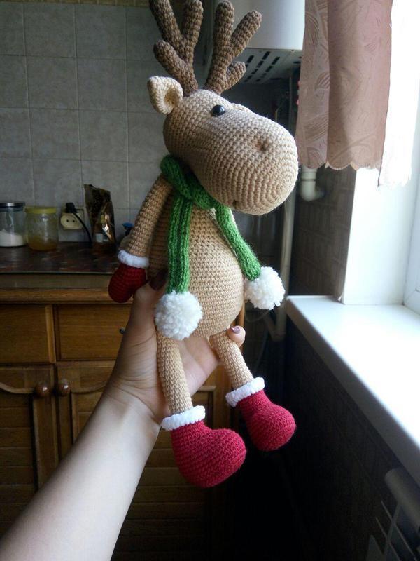 Олень Рудольф, интерьерная игрушка. Игрушка Олень. Подарок на Новый год и Рождество