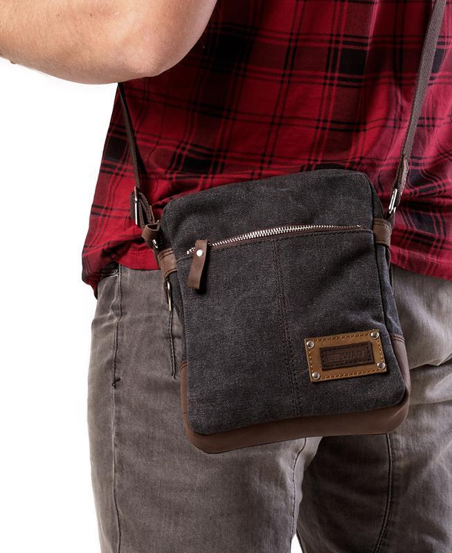 52ef052b7114 Мужская сумка небольшого размера из канваса и натуральной кожи, серый графит