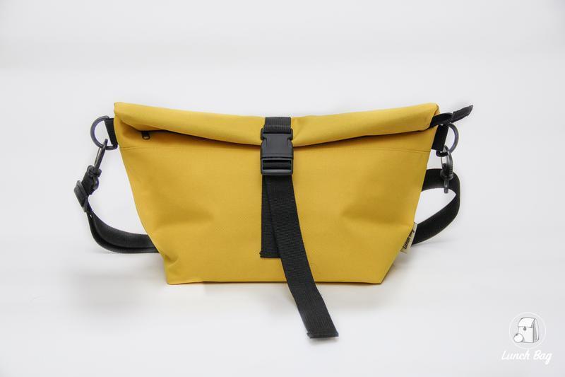 Lunch bag жовтий XL з довгим ременем термосумка сумка термос