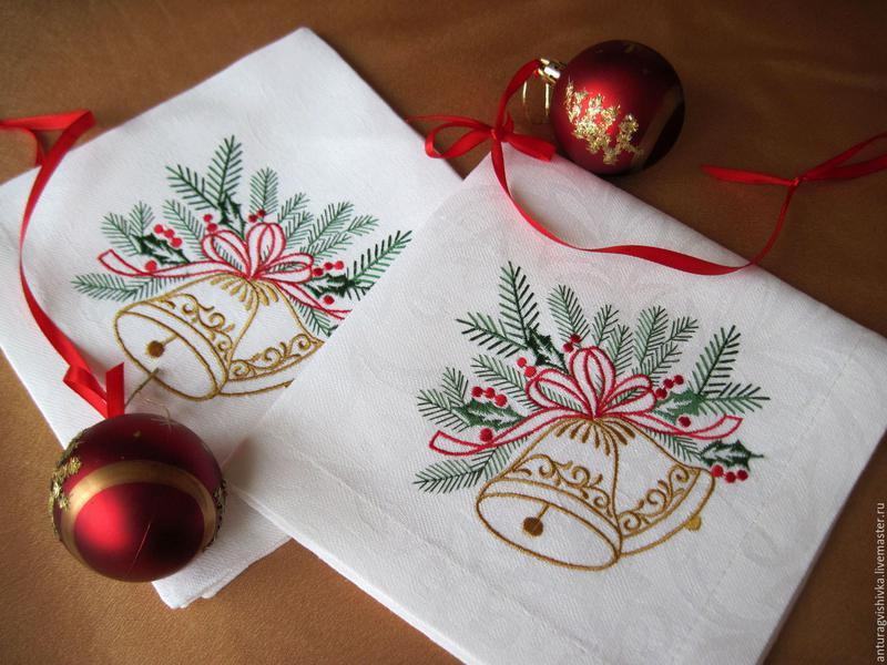 Набір новорічних серветок з бавовни з вишивкою 6шт.