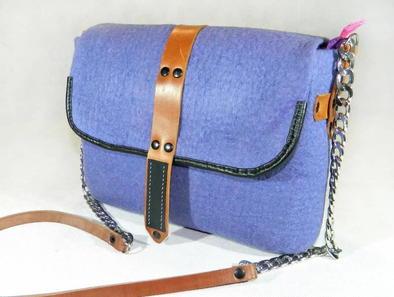 4e2ae033e079 Валяная сумка Сирень, сумка из шерсти и кожи сиреневая, сумка валяная серый