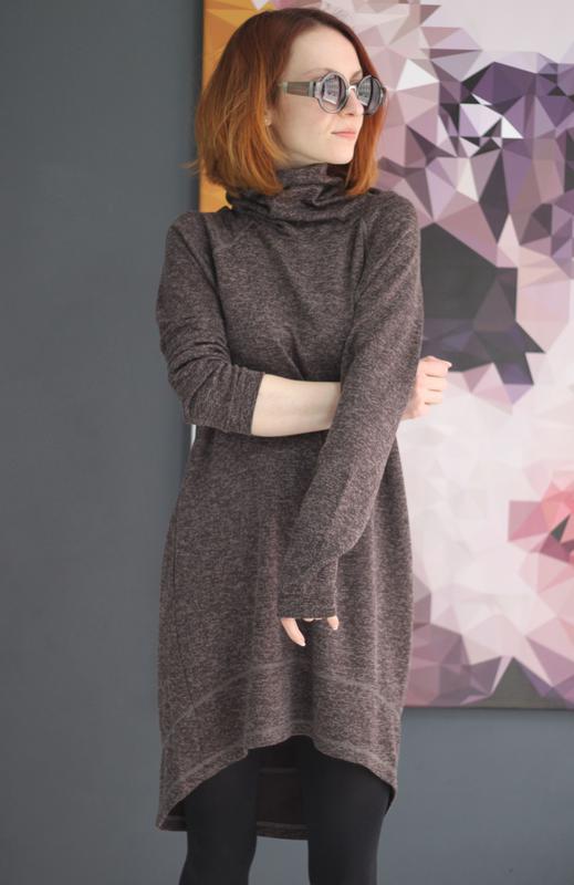9d1e8718152 Коричневое платье меланж