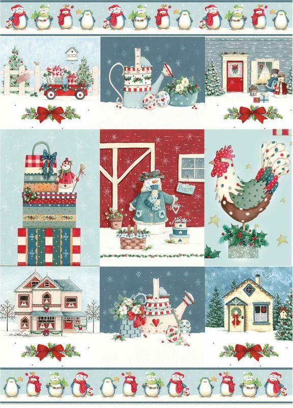 Декупажная карта Петух подарки Зима Новый год Рождество Дом Снег 162V 55 г/м2, А4, 210Х290 мм