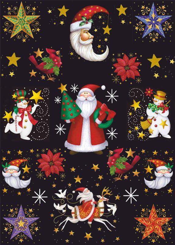 Декупажная карта Дед мороз Новый год Рождество Звёзды Луна Подарки 164V 55 г/м2, А4, 210Х290 мм